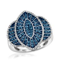 Jewelonfire Sterling Silver 1ct TDW Blue and White Diamond Marquise Ring