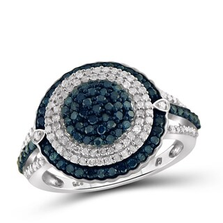 Jewelonfire Sterling Silver 1ct TDW Blue and White Diamond Circle Halo Ring (I-J, I2-I3)