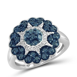 Jewelonfire Sterling Silver 1ct TDW Blue and White Diamond Star Ring