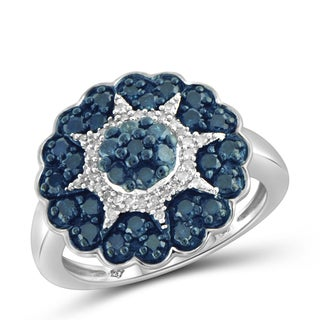 Jewelonfire Sterling Silver 1ct TDW Blue and White Diamond Star Ring (I-J, I2-I3)