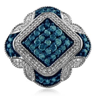 Jewelonfire Sterling Silver 1ct TDW Blue and White Diamond Halo Ring (I-J, I2-I3)
