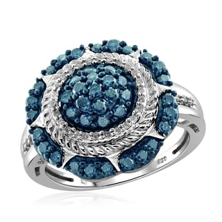 Jewelonfire Sterling Silver 1ct TDW Blue and White Diamond Sectional Ring (I-J, I2-I3)