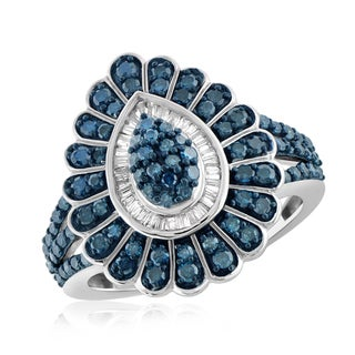 Jewelonfire Sterling Silver 1ct TDW Blue and White Diamond Fan Ring