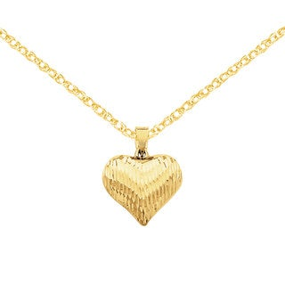 Versil 14k Gold Diamond-cut Puffed Heart Charm 18-inch Necklace