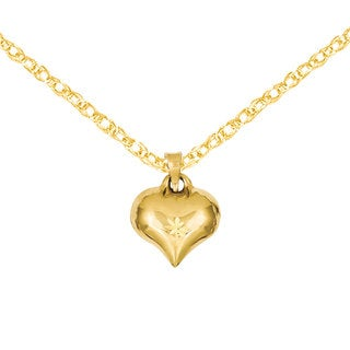 Versil 14k Gold Puffed D/C Heart Charm 18-inch Necklace