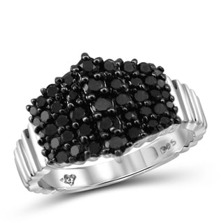 Jewelonfire Sterling Silver 1ct TDW Black Diamond Center Ring
