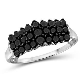 Jewelonfire Sterling Silver 1ct TDW Black Diamond Triple Row Ring