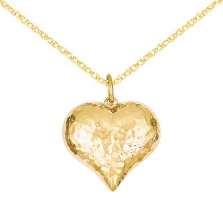Versil 14k Gold Hollow Polished Hammered Puffed Heart Charm 18-inch Necklace