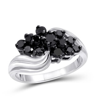 Jewelonfire Sterling Silver 1ct TDW Black Diamond Cluster Ring