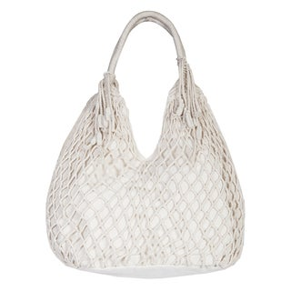 Scully Natural Cotton Macrame Rope Handle Hobo Handbag