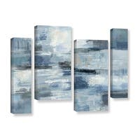 Silvia Vassileva 'Clear Water Indigo and Gray' 4-piece Gallery Wrapped Canvas Staggered Set - Multi