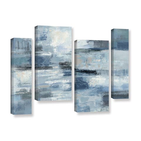 Silvia Vassileva 'Clear Water Indigo and Gray' 4-piece Gallery Wrapped Canvas Staggered Set