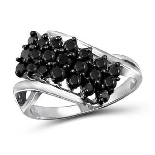 Jewelonfire Sterling Silver 1ct TDW Black Diamond Prong Ring