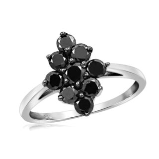 Jewelonfire Sterling Silver 1ct TDW Black Diamond Marquise Ring