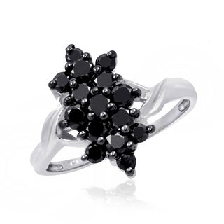 Jewelonfire Sterling Silver 1ct TDW Black Diamond Twisted Band Ring