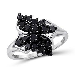 Jewelonfire Sterling Silver 1ct TDW Black Diamond Wing Ring