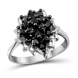 Jewelonfire Sterling Silver 1ct TDW Cluster Black Diamond Ring