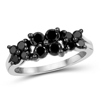 Jewelonfire Sterling Silver 1ct TDW Black Diamond Triple 4-section Ring