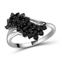 Jewelonfire Sterling Silver 1ct TDW Black Diamond Sideways Ring