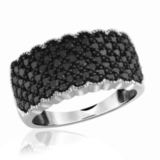 Jewelonfire Sterling Silver 1ct TDW Black Diamond Multi-Pave Ring