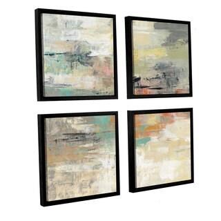 Silvia Vassileva 'Gentle Gaze ' 4-piece Floater Framed Canvas Sqare Set