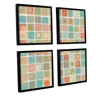 Silvia Vassileva 'Sea Glass Mosaic' 4-piece Floater Framed Canvas Sqare Set