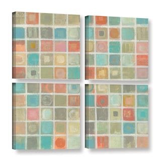 Silvia Vassileva 'Sea Glass Mosaic' 4-piece Gallery Wrapped Canvas Square Set