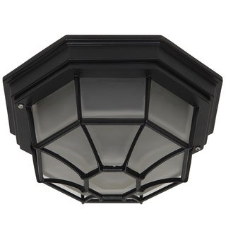 Megan Exterior Flushmount Outdoor Light Fixture Black with Frosted Glass