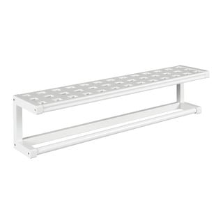 New Ridge Home Beaumont White Solid Birch Wood Large Towel Bar with Shelf