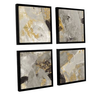 Silvia Vassileva 'Painted Desert Neutral' 4-piece Floater Framed Canvas Sqare Set
