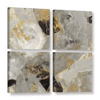 Silvia Vassileva 'Painted Desert Neutral' 4-piece Gallery Wrapped Canvas Square Set