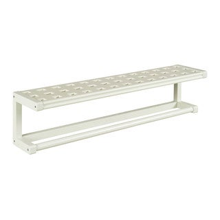 New Ridge Home Beaumont Linen Solid Birch Wood Large Towel Bar with Shelf