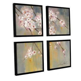 Silvia Vassileva 'Cherry Cloud II' 4-piece Floater Framed Canvas Sqare Set