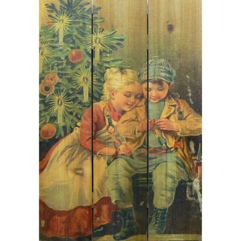 Christmas Kids 16x24-inch Indoor/ Outdoor Full Color Cedar Wall Art