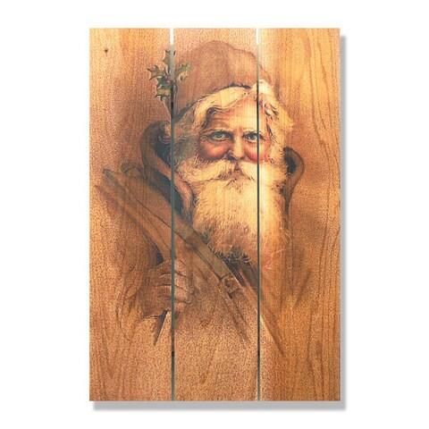 Father Christmas 16x24-inch Indoor/ Outdoor Full Color Cedar Wall Art