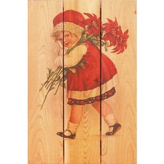 Red Girl 16x24-inch Indoor/ Outdoor Full Color Cedar Wall Art