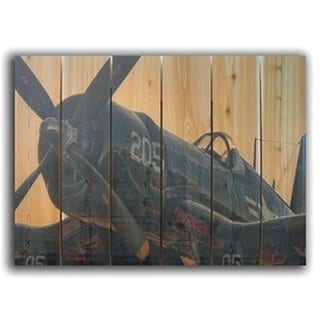 WWII Corsair 33x24-inch Indoor/ Outdoor Full Color Cedar Wall Art