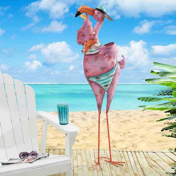 Sunjoy Large Baseball cap and Attitude Flamingo Sculpture