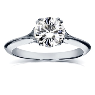 Annello 14k White Gold Forever One 1ct Moissanite and 1/10ct TDW Diamond Milgrain Edged Tulip Engagement Ring (G-H, I1-I2)