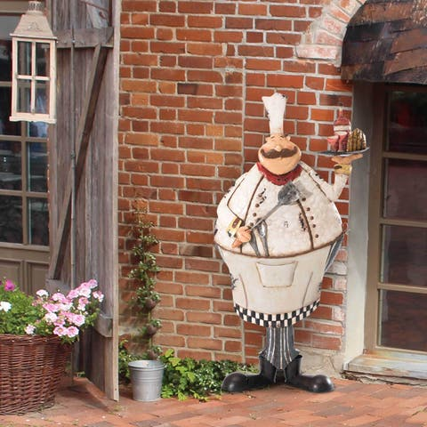 Sunjoy Friendly Pastry Chef 31.25-inch Hand-Painted Metal Wall Decor