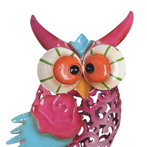 Sunjoy Whimsical Owls Hand Painted Metal Garden Sculpture Set Of 3,  18 Inches,