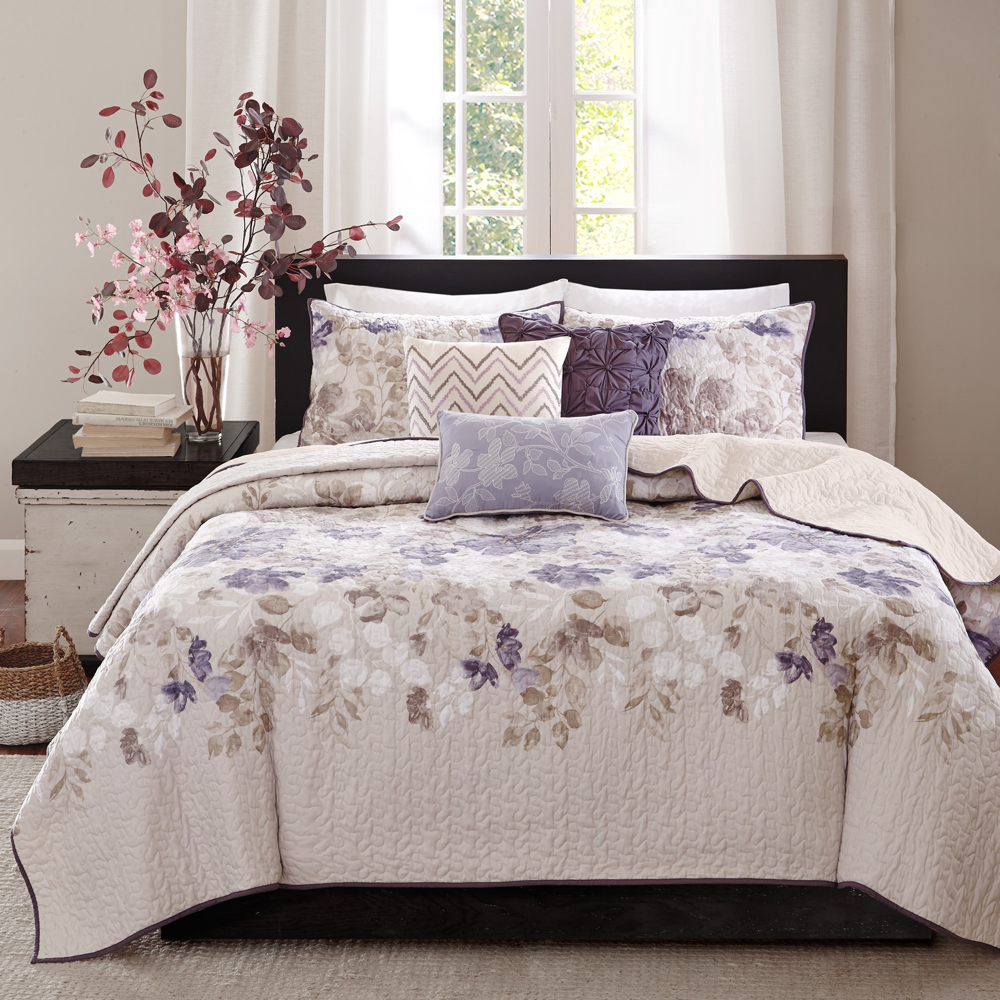 Full Queen Cal King Bed Taupe Beige Floral 3 pc Quilt Set Bedspread Coverlet