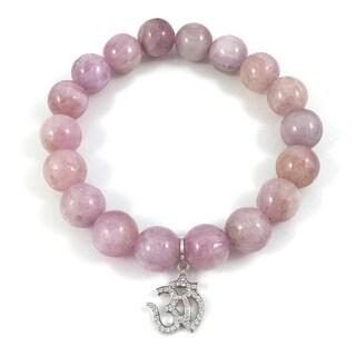 Kunzite Bead Bracelet with Silvertone Cubic Zirconia Om Charm