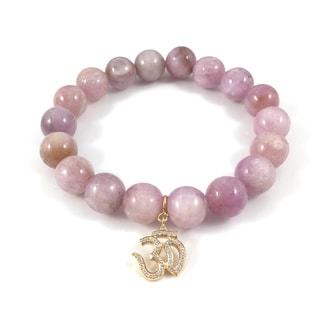 Kunzite Bead Bracelet with Goldtone Cubic Zirconia Om Charm