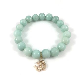 Amazonite Bead Bracelet with Goldtone Cubic Zirconia Om Charm