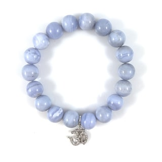 Blue Lace Agate Bead Bracelet with Silver Cubic Zirconia Om Charm