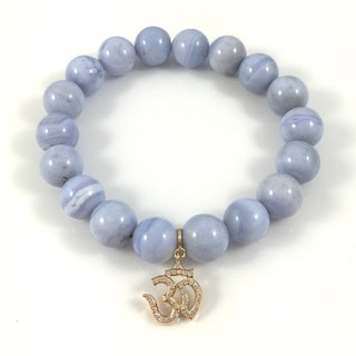 Blue Lace Agate Bead Bracelet with Gold Cubic Zirconia Om Charm