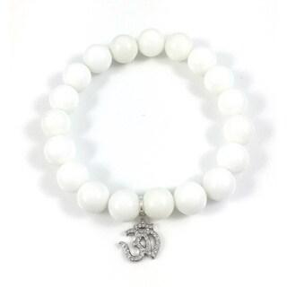 White Onyx Bead Bracelet with Silver Cubic Zirconia Om Charm