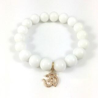 White Onyx Bead Bracelet with Goldtone Cubic Zirconia Om Charm