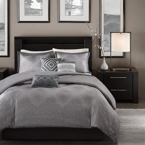 Madison Park Crawford Grey 6-piece Duvet Cover Set